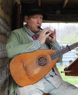 Jonathan Hagee plays the tin whistle and the lute at Colonial Days.