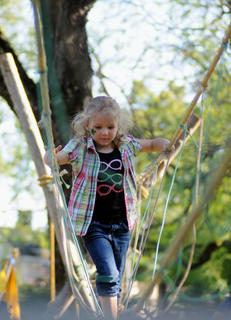 Ellery Smith, Bardstown, walks on a rope bridge built by Boys Scouts 142, United Methodist Church.