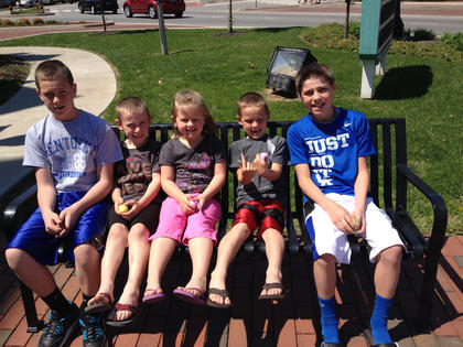 Jarred Simpson,  Cole Cissell, Rachel Mudd, Chad Cissell and Trever Cissell. Photo taken April  19 after visiting with the Easter Bunny.