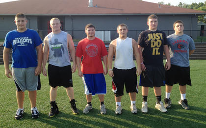 Nelson County won the lineman challenge at Campbellsville University, competing in events such as tire flip, heavy bag throw, sled drive and 185-pound bench press. There were 12 other teams at competition. The Cardinals had the two strongest lineman in the bench press competition, with Reed Montgomery benching 185 lbs 27 times and Joe Hagan going 20 times. 