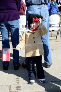 Olivia Bowling, 2, New Haven, was at New Haven's Veterans Day ceremony to watch her brother during the flag ceremony. Bowling is the daughter of Michael and Jessica Bowling.