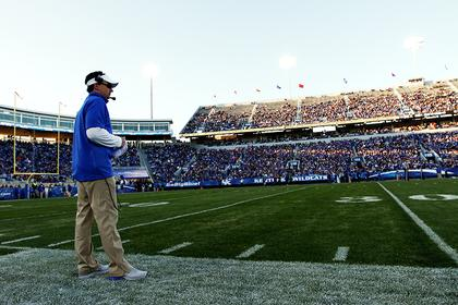 Bardstown native Neal Brown surveys the field during the University of Kentucky's Blue-White game in April. Brown came on board as Kentucky's offensive coordinator upon the hiring of new head coach Mark Stoops. The excitement over the coaching change in Lexington led to a record crowd of more than 50,000 people attending the scrimmage. Kentucky Standard sports editor Peter W. Zubaty will be meeting up with Brown later this month for an interview for a story.