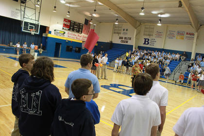 Student ambassadors prepared for the fun and games at Bethlehem High School Feb. 3 as Bethlehem, St. Catherine Academy and St. Joseph School came together to celebrate Catholic Schools Week. Bethlehem kicked off the day with a special 10 a.m. mass and rounded it up with relays involving all three schools.