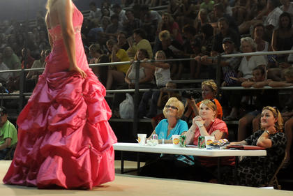Becky Duvall, Lindsay Tirey and Melissa Bourne judge the Miss Nelson County Fair pageant.