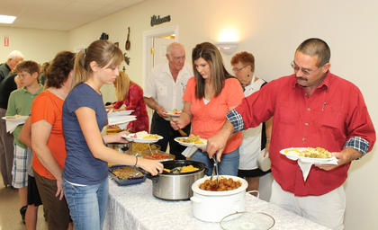 Country cooking was on the menu for a potluck luncheon at St. Michael.