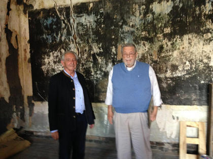 Prince Michael of Greece, left, pictured above with Jack Kelly, visited the mural room at the Old Talbott Tavern on Sat. May 17th. Legend has it that the mural was painted during the visit of King Louis Philippe in 1797. Prince Michael is a direct descendant of King Louis Philippe.