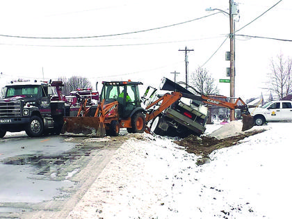 Monday morning just before 2 a.m. a salt truck overturned on Bloomfield Road at the Eagle Pass subdivision.  Crews from the Kentucky Department of Transportation were still out at around 10:30 a.m. Monday uprighting the truck and getting it out of the ditch.