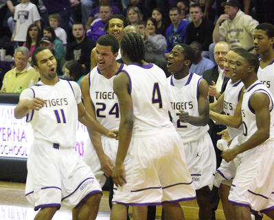Tiger players react after a Bardstown run forced a Campbellsville time out.