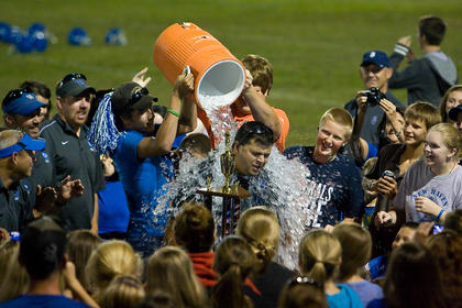 The Southwest Nelson Rams went undefeated in the middle school regular season, and celebrated by giving coach Bryan Hurst a postgame shower.
