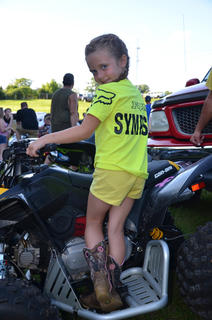 Ragen Sympson getting ready for the ATV races at the Nelson County Fair.