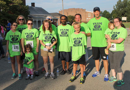 Team Medica, from Medica Pharmacy and Wellness Center, presenting sponsors of the Nelson County Community Clinic's 5K Saturday, were one of the largest teams in the race.