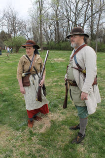 Steve and Laura Gove of Tennessee watch the crowd on the first day of Bardstown Colonial Days.