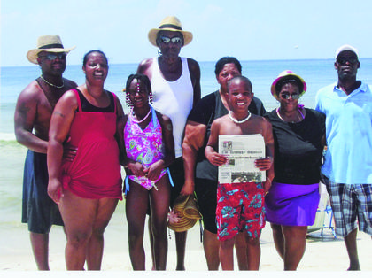 The Kentucky Standard went on vacation to Gulf Shores, Ala. Pictured are Richard and Melissa Thompson, Kiasia Thompson, Ray Schooling Sr., Mary Schooling, Kaiden Thompson, Cheryl Johnson and Paul Johnson.