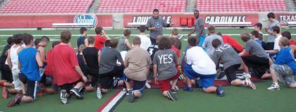 Thomas Nelson football players got an opportunity recently to practice at the University of Louisvilles Papa Johns Cardinal Stadium. Generals coach Greg Brohm is a former Louisville wide receiver, and also spent time as a Cardinal assistant coach. The Generals will play a JV schedule in the fall, then play their first varsity district season in 2013.