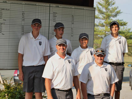 Thomas Nelson's golfers were all smiles after winning the recent Henry County Invitational. Team members include Jacob Mattingly, Coach Randy Pinkston, Kyle Burton, Justin Culver, Quentin Roby and Cody French.