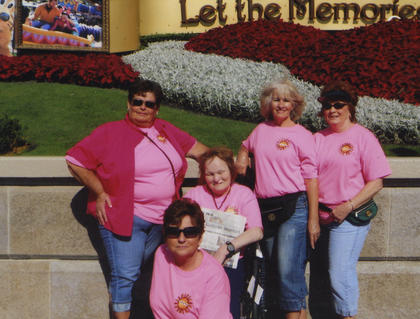 Sisters took The Kentucky Standard to Florida on a Christmas vacation to see family members, Gary and Paula Chesser. Pictured are Linda Humphrey, Paula Chesser, Karen Moore, Marlene Curtsinger (holding paper) and Gayle Brady. They visited Winter Garden, Disney World and Cocoa Beach.