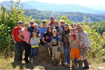 The Kentucky Standard went on vacation to Brimstone, Tenn., in October 2013. Pictured from left to right are Chasity Hutchins, Alexis Hutchins, Kristi Hutchins, Taylor Hutchins, Kamden Hutchins, Andrea Willis, Pam Filiatreau, Tommy Smith, Mason Smith, Jonathon Kays, Shandra Smith, Chris Filiatreau, Bryson Cissell, John Wolf, Todd Cissell, Taking the picture : Derek Hutchins.