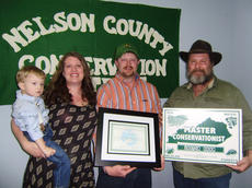 """<div class=""""source"""">Submitted</div><div class=""""image-desc"""">The 2016 Nelson County Conservation District Master Conservationist Award recipient is Justin Hahn. Pictured, from left, are Augusta Hahn, Anthony Hahn, Justin Hahn and Ricky Humphrey, a member of the Nelson County Conservation District.</div><div class=""""buy-pic""""></div>"""