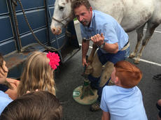"<div class=""source"">Submitted Photo</div><div class=""image-desc"">Mr. Jim Crepps brought his horse, Ace, and ferrier equipment to show the students how to shoe a horse.</div><div class=""buy-pic""></div>"