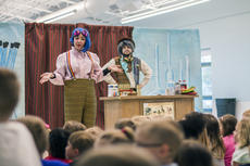"""<div class=""""source"""">KACIE GOODE/The Kentucky Standard</div><div class=""""image-desc"""">Nora Moutrane of Bright Star Touring Theatre speaks to the audience during a theatrical performance at the Nelson County Early Learning Center Tuesday afternoon.</div><div class=""""buy-pic""""><a href=""""/photo_select/84149"""">Buy this photo</a></div>"""