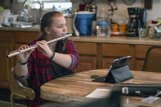"<div class=""source"">KACIE GOODE/The Kentucky Standard</div><div class=""image-desc"">Rhianna Cranmer, 13, practices her flute inside her Boston home. She played the instrument recently at Campbellsville University, representing Nelson County in the All-District Middle School Honors Band. Aside from music, Cranmer enjoys hunting and aspires to be a journalist, tattoo artist or band director. </div><div class=""buy-pic""><a href=""/photo_select/83956"">Buy this photo</a></div>"