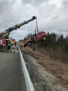 "<div class=""source"">SUBMITTED PHOTO</div><div class=""image-desc"">A crane was used to lift a car back onto the roadway after it went over an embankment on Ky. 245 near Thomas Nelson High School Thursday.</div><div class=""buy-pic""></div>"