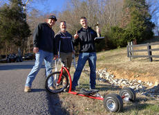 "<div class=""source"">KACIE GOODE/The Kentucky Standard</div><div class=""image-desc"">Kurt Edelen poses for a photo Sunday afternoon with organizers Levi Wooldridge and Jason Newton after winning the Cissal Hill Big Wheel Race for the fifth time.</div><div class=""buy-pic""><a href=""/photo_select/91224"">Buy this photo</a></div>"