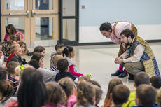 """<div class=""""source"""">KACIE GOODE/The Kentucky Standard</div><div class=""""image-desc"""">Nora Moutrane and John Yazzo speak with students after an afternoon production at the Nelson County Early Learning Center. The pair were on their very first tour with Bright Star, a touring theatre company which specializes in educational performances with topics ranging from bullying to nutrition.</div><div class=""""buy-pic""""><a href=""""/photo_select/84153"""">Buy this photo</a></div>"""