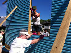 "<div class=""source"">PHOTO SUBMITTED</div><div class=""image-desc"">Lana Fitzpatrick, Dixie Hibbs and Alexandria Mills help set a up a wall for a home in Belize City, Belize in January 2012. </div><div class=""buy-pic""></div>"
