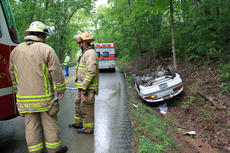 """<div class=""""source"""">ERIN L. MCCOY/The Kentucky Standard</div><div class=""""image-desc"""">The Bardstown-Nelson County Fire Department didn't need to extricate Francis S. Clark, 28, St. Francis, from his vehicle after it flipped over on Loretto Road May 13. Clark, who was uninjured, climbed out the back windshield. </div><div class=""""buy-pic""""><a href=""""/photo_select/26145"""">Buy this photo</a></div>"""