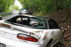 """<div class=""""source"""">ERIN L. MCCOY/The Kentucky Standard</div><div class=""""image-desc"""">Francis S. Clark, 28, St. Francis, was able to climb out the back windshield of his Camaro after it flipped over on Loretto Road a half-mile outside Bardstown May 13. Clark was not injured. He was apparently driving too fast for wet road conditions, Kentucky State Police Trooper C.G. Perry said. </div><div class=""""buy-pic""""><a href=""""/photo_select/26147"""">Buy this photo</a></div>"""