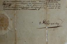 """<div class=""""source"""">FORREST BERKSHIRE/The Kentucky Standard</div><div class=""""image-desc"""">Virginia Gov. Patrick Henry's signature on a 1785 document naming some of the earliest justices of the peace for Nelson County.</div><div class=""""buy-pic""""><a href=""""/photo_select/48031"""">Buy this photo</a></div>"""