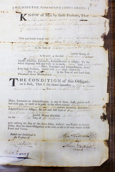 """<div class=""""source"""">FORREST BERKSHIRE/The Kentucky Standard</div><div class=""""image-desc"""">A document discovered by Brands bears the signature of Abraham Lincoln's grandfather. </div><div class=""""buy-pic""""><a href=""""/photo_select/48028"""">Buy this photo</a></div>"""
