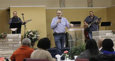 """<div class=""""source"""">RANDY PATRICK/The Kentucky Standard</div><div class=""""image-desc"""">Pastor Freddy Riggs of Faith Worship Center in Bardstown welcomed guests to Sen. Jimmy Higdon's 17th annual Mama Jo Nuckols Prayer Breakfast Saturday.</div><div class=""""buy-pic""""></div>"""