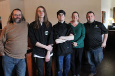 """<div class=""""source"""">RANDY PATRICK/The Kentucky Standard</div><div class=""""image-desc"""">Karen Kinser and her fiancé, Wes Priddy, right, Karen's brother Charlie Waters, left, and sons Evan Kinser and Spencer Parks, at Rylon Sweeney's Irish Restaurant and Pub. Kinser and Priddy said they wanted to start a different kind of dining experience in Bardstown.</div><div class=""""buy-pic""""><a href=""""/photo_select/93742"""">Buy this photo</a></div>"""
