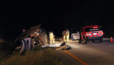 """<div class=""""source"""">KACIE GOODE/The Kentucky Standard</div><div class=""""image-desc"""">The Nelson County Sheriff's Office and firefighters worked the scene of an injury accident Tuesday night on the Bluegrass Parkway. A semi tanker overturned in the median near the 22-mile marker westbound. The driver, 49-year-old Franklin Lawrence of Hurricane, West. Va., was transported to Flaget Memorial Hospital and later flown to University of Louisville Hospital with serious injuries. The liquid carried in Lawrence's tanker was determined to be nonflammable, but the roadway was closed for more than 12 hours as crews worked to clean the scene. </div><div class=""""buy-pic""""><a href=""""/photo_select/69473"""">Buy this photo</a></div>"""