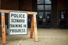 """<div class=""""source"""">KACIE GOODE/The Kentucky Standard</div><div class=""""image-desc"""">A sign alerts the public to a police training at Bardstown Middle School Tuesday.</div><div class=""""buy-pic""""><a href=""""/photo_select/97172"""">Buy this photo</a></div>"""
