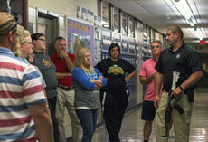 """<div class=""""source"""">KACIE GOODE/The Kentucky Standard</div><div class=""""image-desc"""">Detective James Martin speaks with staff at Bardstown High School during an active shooter scenario training. Both the middle and high school took part in sessions Tuesday.</div><div class=""""buy-pic""""><a href=""""/photo_select/97174"""">Buy this photo</a></div>"""