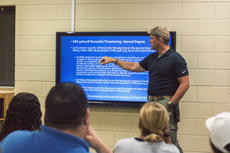 """<div class=""""source"""">KACIE GOODE/The Kentucky Standard</div><div class=""""image-desc"""">Kentucky State Police Sgt. Mike Garyantes leads a presentation Tuesday morning during Bardstown Middle School's active shooter training. The high school went through training that afternoon.</div><div class=""""buy-pic""""><a href=""""/photo_select/97175"""">Buy this photo</a></div>"""