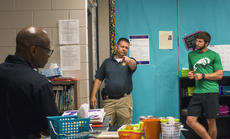 """<div class=""""source"""">KACIE GOODE/The Kentucky Standard</div><div class=""""image-desc"""">Trooper Eric Hines answers questions prior to a barricade scenario during KSP's active shooter training Tuesday at Bardstown High School.</div><div class=""""buy-pic""""><a href=""""/photo_select/97176"""">Buy this photo</a></div>"""