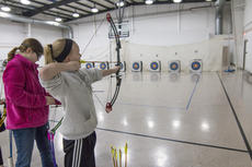 """<div class=""""source"""">KACIE GOODE/The Kentucky Standard</div><div class=""""image-desc"""">Students of the All Saints Archery Club were able to continue their practice Monday at St. Gregory's despite the majority of their equipment being stolen over the weekend. Area schools, organizations and donors have been working to lend or give the club bows, arrows and other equipment so they can be ready for the region 5 tournament in a few weeks.</div><div class=""""buy-pic""""><a href=""""/photo_select/83129"""">Buy this photo</a></div>"""