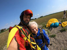 """<div class=""""source"""">SUBMITTED PHOTO</div><div class=""""image-desc"""">Dr. Mark Duber and Audrey Simek pose for a selfie after skydiving Saturday in Elizabethtown. Duber has about a 1,000 jumps under his belt, but for Simek, 88, this was her first experience.</div><div class=""""buy-pic""""></div>"""