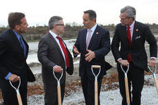 """<div class=""""source"""">RANDY PATRICK/The Kentucky Standard</div><div class=""""image-desc"""">Gov. Matt Bevin, second from right, talks with Dmitry Efimov, chief executive officer of Kentucky Owl and head of the Stoli Group's American whiskey division, following a groundbreaking ceremony for the company's new Bardstown distillery Wednesday. Flanking them are Secretary Terry Gill, right, and Vivek Sarin with the state Cabinet for Economic Development.</div><div class=""""buy-pic""""><a href=""""/photo_select/90752"""">Buy this photo</a></div>"""
