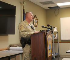 """<div class=""""source"""">TREY CRUMBIE/The Kentucky Standard</div><div class=""""image-desc"""">Nelson County Sheriff Ed Mattingly held a press conference Tuesday afternoon regarding a homicide investigation in Bloomfield which resulted in the death of 18-year-old Rasheed Wickliffe.</div><div class=""""buy-pic""""><a href=""""/photo_select/71577"""">Buy this photo</a></div>"""