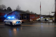 """<div class=""""source"""">TREY CRUMBIE/The Kentucky Standard</div><div class=""""image-desc"""">Two Bloomfield Police Department cruisers sit outside a taped off Bloomfield Post Office Tuesday morning. The Bloomfield Police Department assisted the Nelson County Sheriff's Office on the scene of a homicide investigation.</div><div class=""""buy-pic""""><a href=""""/photo_select/71582"""">Buy this photo</a></div>"""