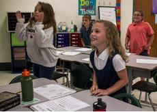"<div class=""source"">KACIE GOODE/The Kentucky Standard</div><div class=""image-desc"">Makenzie Childress enjoys a song and dance break at Boston School Wednesday on the first day of classes for the 2018-19 school year.</div><div class=""buy-pic""><a href=""/photo_select/97325"">Buy this photo</a></div>"
