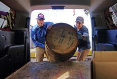 """<div class=""""source"""">KACIE GOODE/The Kentucky Standard</div><div class=""""image-desc"""">A bourbon barrel is loaded into the back of a Falls City van for transport Monday morning. Willett Distillery invited dozens of Kentucky craft brewers out to pick up barrels, which will be used for a brewing experiment.</div><div class=""""buy-pic""""><a href=""""/photo_select/91561"""">Buy this photo</a></div>"""