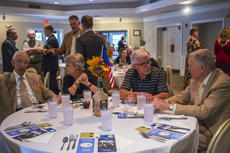 "<div class=""source"">KACIE GOODE/The Kentucky Standard</div><div class=""image-desc"">Guests talk at their tables prior to dinner Tuesday night during the second Bourbon, Patriots and Veterans event at My Old Kentucky Home Great Hall.</div><div class=""buy-pic""><a href=""/photo_select/98181"">Buy this photo</a></div>"