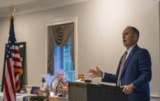 "<div class=""source"">KACIE GOODE/The Kentucky Standard</div><div class=""image-desc"">Rep. Tim Moore speaks Tuesday during the Bourbon, Patriots and Veterans event at My Old Kentucky Home Great Hall.</div><div class=""buy-pic""><a href=""/photo_select/98179"">Buy this photo</a></div>"