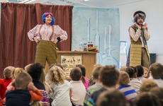 """<div class=""""source"""">KACIE GOODE/The Kentucky Standard</div><div class=""""image-desc"""">Actors Nora Moutrane and John Yazzo engage their audience at the Nelson County Early Learning Center. The pair were on their very first tour with Bright Star, a touring theatre company based in North Carolina.</div><div class=""""buy-pic""""><a href=""""/photo_select/84160"""">Buy this photo</a></div>"""